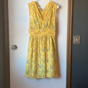 Anthropologie yellow lace dress size 6